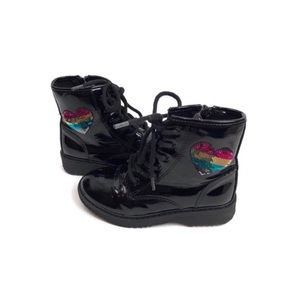 Black Patent Leather Combat Boots w/Sequin Hearts